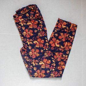 LuLaRoe Leggings Flowers Blue Orange TC